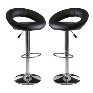 An Image of Okab Black Faux Leather Bar Stools In Pair