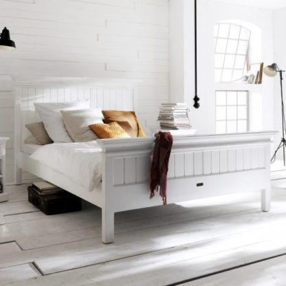 An Image of Allthorp Wooden King Size Bed In Classic White