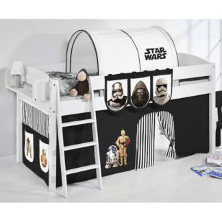 An Image of Lilla Children Bed In White With Star Wars Black Curtains
