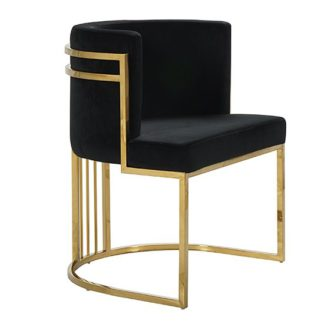 An Image of Casoli Velvet Dining Chair In Black With Gold Legs