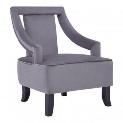An Image of Fagos Velvet Upholstered Armchair In Grey