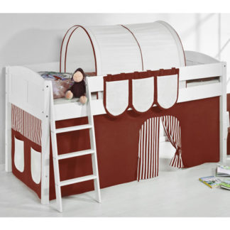 An Image of Hilla Children Bed In White With Brown Curtains