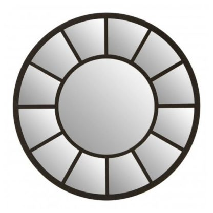 An Image of Tiffani Round Wall Bedroom Mirror In Black Frame