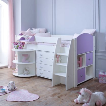 An Image of Eli E Childrens Midsleeper Bed with pull out Desk, Storage and Chest