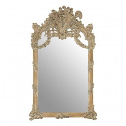 An Image of Sarnia Baroque Design Wall Bedroom Mirror In Muted Ivory Frame