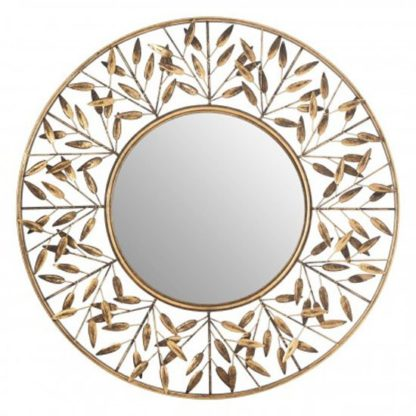 An Image of Zaria Round Tiny Leaf Design Wall Bedroom Mirror In Gold Frame