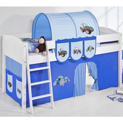 An Image of Hilla Children Bed In White With Tractor Blue Curtains