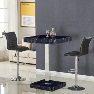 An Image of Topaz Gloss Black Milano Effect Bar Table 2 Ripple Black Stools
