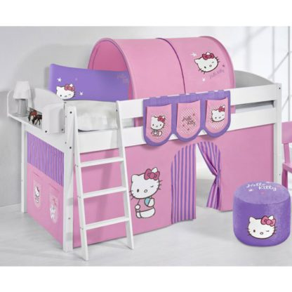 An Image of Lilla Children Bed In White With Kitty Purple Curtains