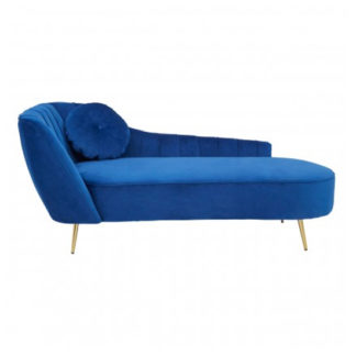 An Image of Felizio Left Arm Velvet Lounge Chaise Chair In Midnight Blue