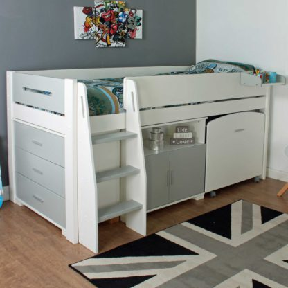 An Image of Urban Grey Childrens Midsleeper Bed with pull out Desk, Chest and Cupboard