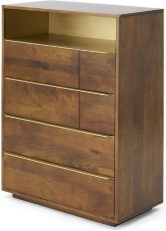 An Image of Anderson Tall Multi Chest of Drawers, Mango & Brass