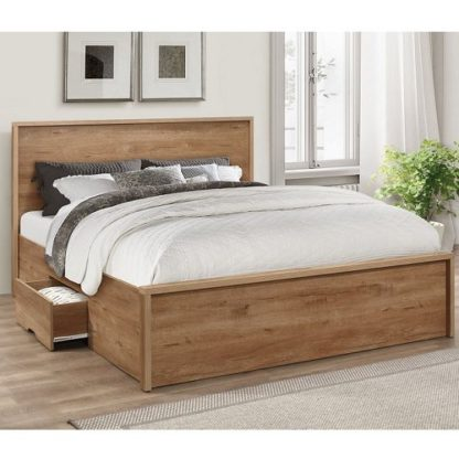 An Image of Silas Wooden Small Double Bed In Rustic Oak Effect