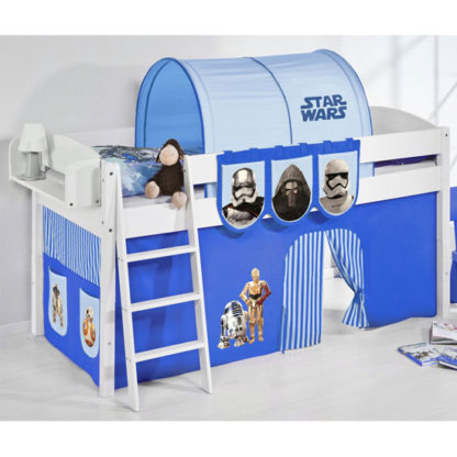 An Image of Lilla Children Bed In White With Star Wars Blue Curtains