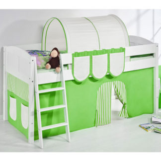 An Image of Hilla Children Bed In White With Green Curtains