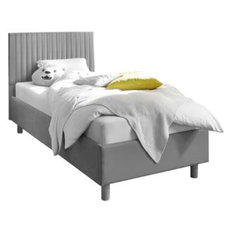 An Image of Altair Grey Fabric Single Bed With Stripes Headboard