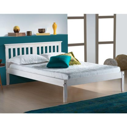 An Image of Salvador Wooden Small Double Bed In White Washed