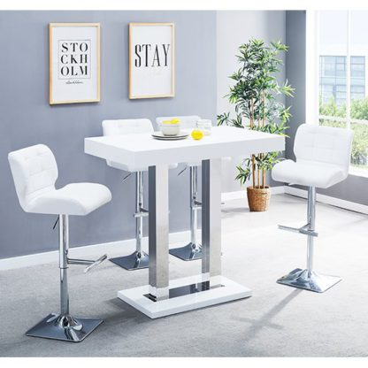 An Image of Caprice Glass Bar Table In White With 4 White Candid Stools