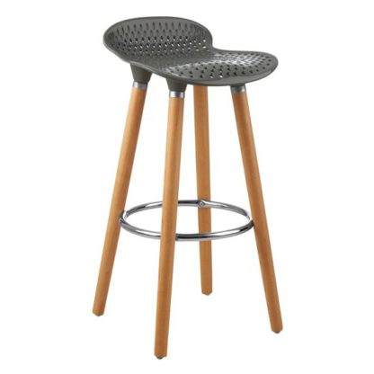 An Image of Porrima Plastic Seat Bar Stool In Matte Grey