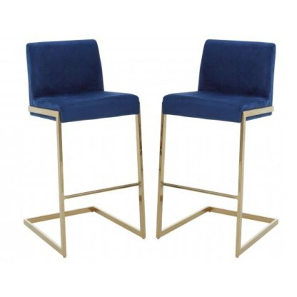 An Image of Tamzo Blue Velvet Upholstered Bar Chair With Low Back In Pair
