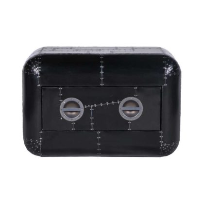 An Image of Timothy Oulton Aviator Blackhawk Lightweight Chest, Black Spitfire