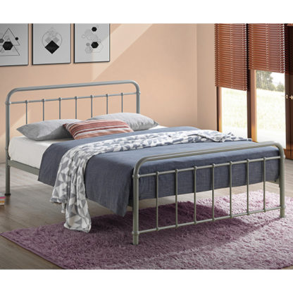 An Image of Miami Victorian Style Metal Small Double Bed In Pebble