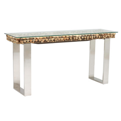 An Image of Caspian Atlantic 160cm Driftwood and Glass Console Table