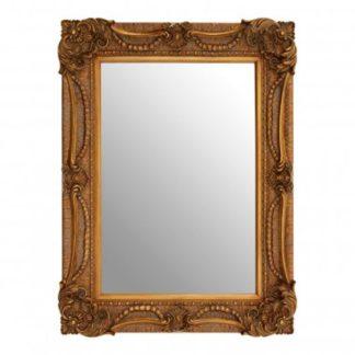 An Image of Signet Rectangular Wall Bedroom Mirror In Antique Bronze Frame