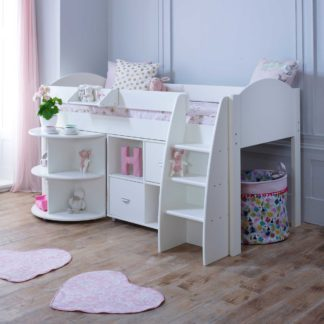 An Image of Eli C Childrens Midsleeper Bed with pull out Desk and Storage