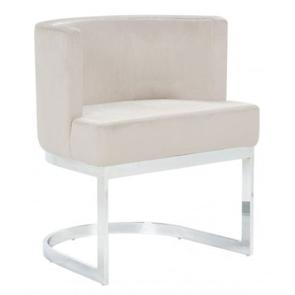 An Image of Lauro Beige Velvet Dining Chair With Silver Stainless Steel Legs