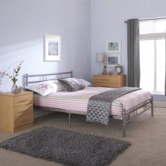 An Image of Morgan Metal Double Bed In Silver