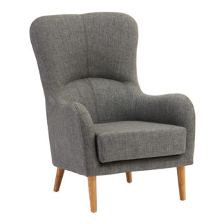 An Image of Giausar Fabric Upholstered Armchair In Grey