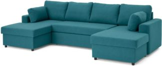 An Image of Aidian Large Corner Sofa Bed with Storage, Mineral Blue