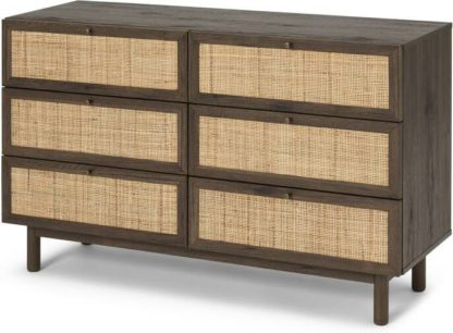An Image of Pavia Wide Chest of Drawers, Natural Rattan & Walnut Effect