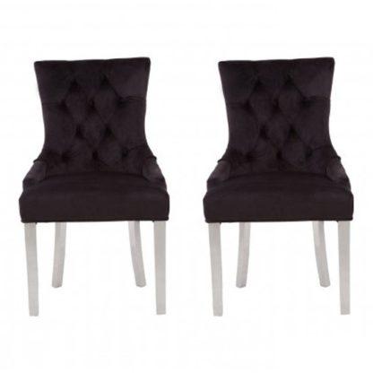 An Image of Mintaka Black Velvet Upholstered Dining Chairs In Pair