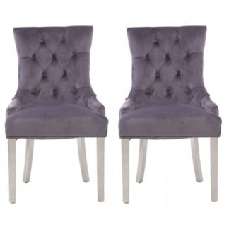 An Image of Mintaka Grey Velvet Upholstered Dining Chairs In Pair