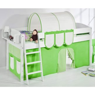 An Image of Lilla Children Bed In White With Green Curtains