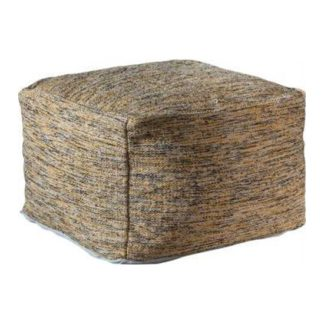 An Image of Miranda Fabric Upholstered Pouffe In Ochre