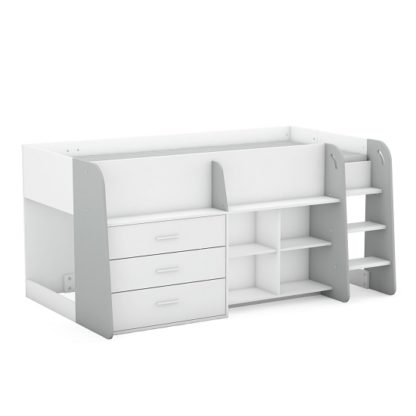 An Image of Oxley Wooden Childrens Bed In Matt White And Light Grey