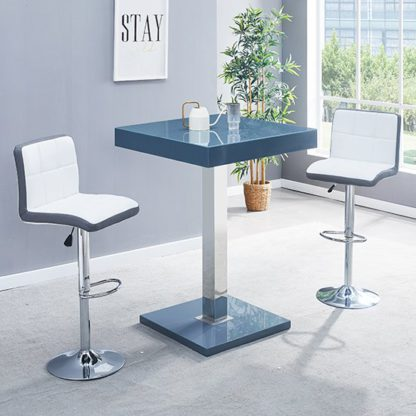 An Image of Topaz Glass Bar Table In Grey With 2 Copez White Grey Stools