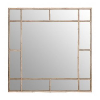 An Image of Zaria Square Panelled Wall Bedroom Mirror In Silver Frame