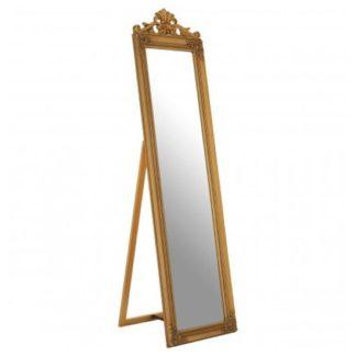 An Image of Zelman Floor Standing Cheval Mirror In Antique Gold Frame
