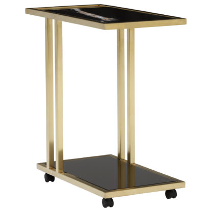 An Image of Tray Marble Accent Table, Sahara Noir