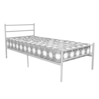 An Image of Leanne Metal Double Bed In Silver