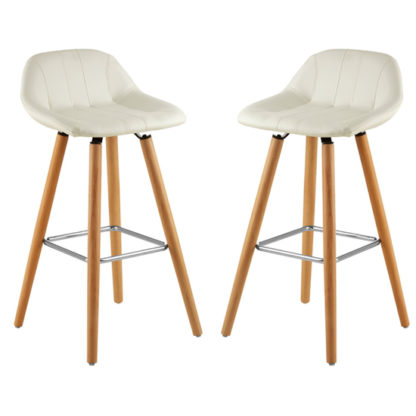 An Image of Porrima White Faux Leather Bar Stools In Pair