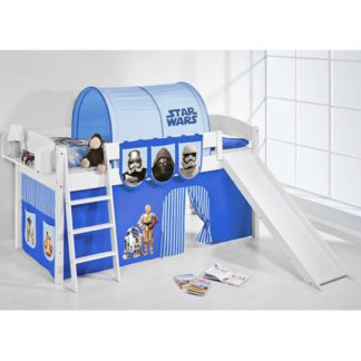 An Image of Lilla Slide Children Bed In White With Star Wars Blue Curtains