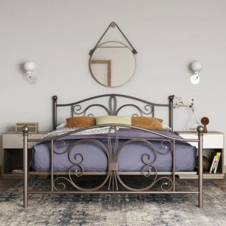 An Image of Bombay Metal Double Bed In Bronze