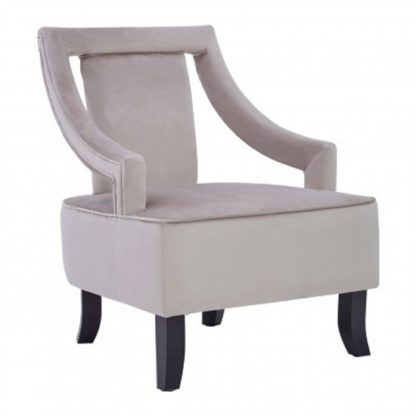 An Image of Fagos Velvet Upholstered Armchair In Mink