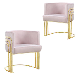 An Image of Lula Pink Velvet Dining Chairs In Pair With Gold Legs