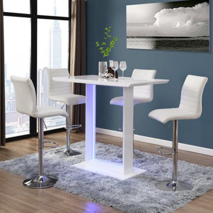 An Image of Atlantis White Gloss Bar Table With LED And 4 Ripple White Stool